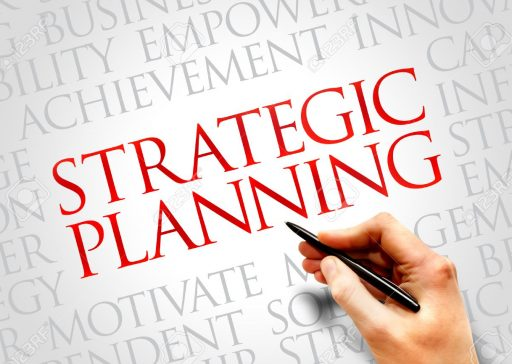 Strategic planning word cloud, business concept